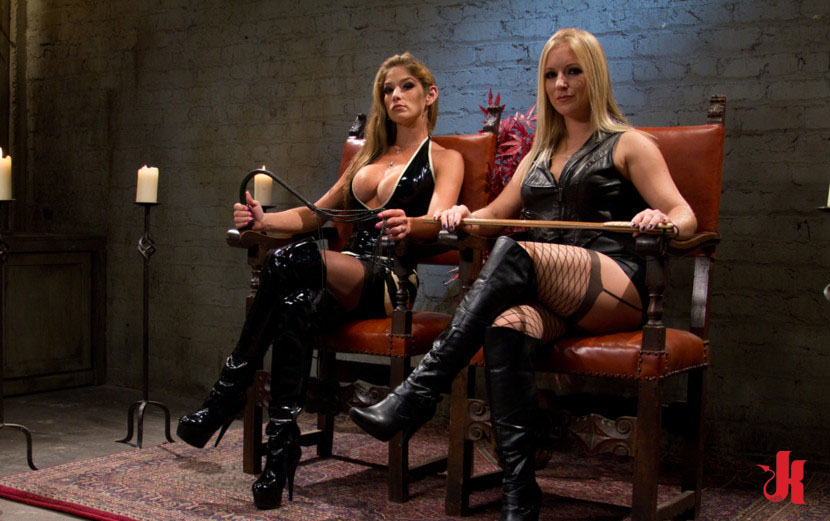 Divine Bitches - Kinky pervert mistresses in leather spanking and torturing  man sex slave in femdom sex